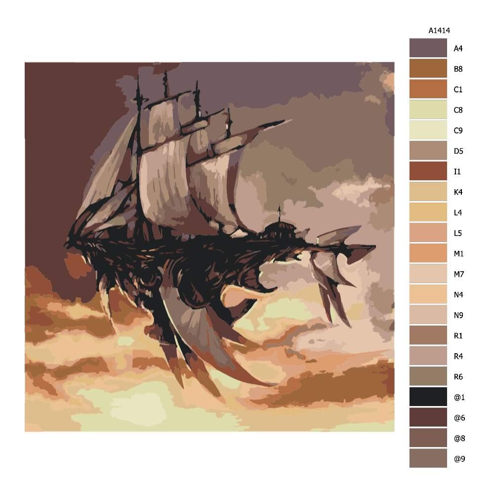 Návod pro malování podle čísel Loď v oblacích budoucnost