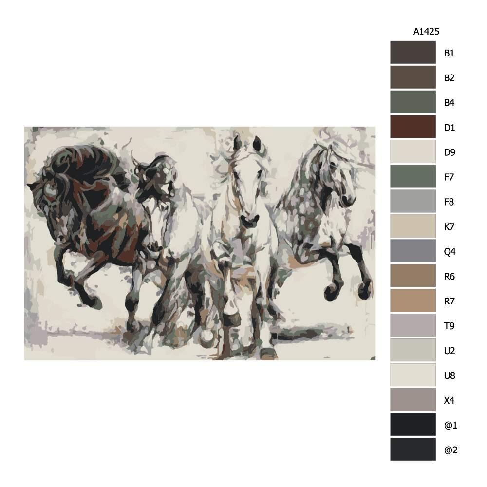 Návod pro malování podle čísel Čtyři bojovníci
