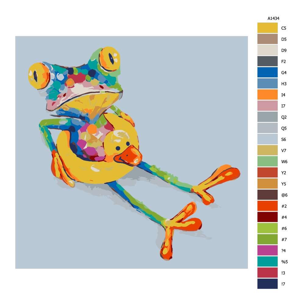 Malování podle čísel Žabka v kruhu