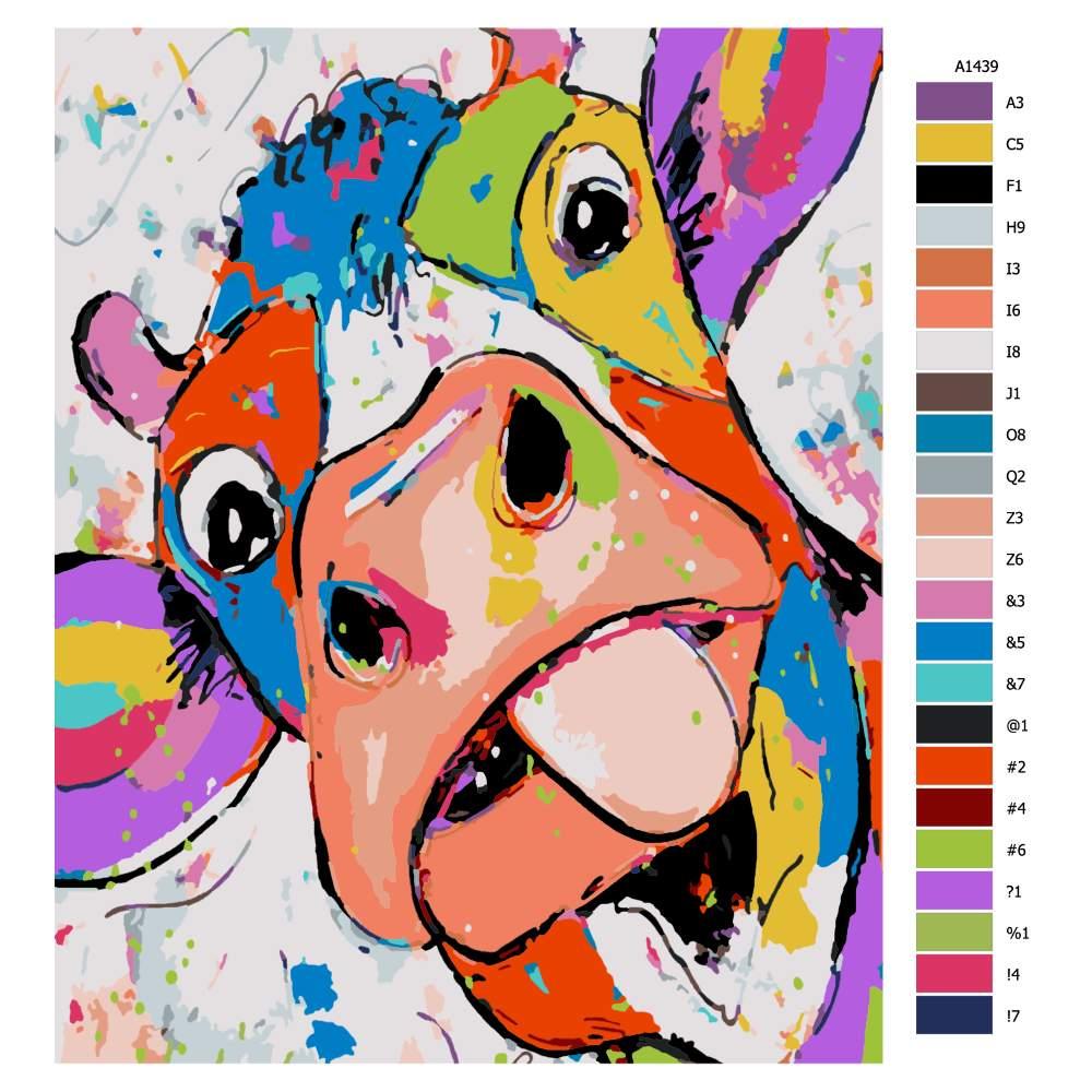 Návod pro malování podle čísel Legrační kráva