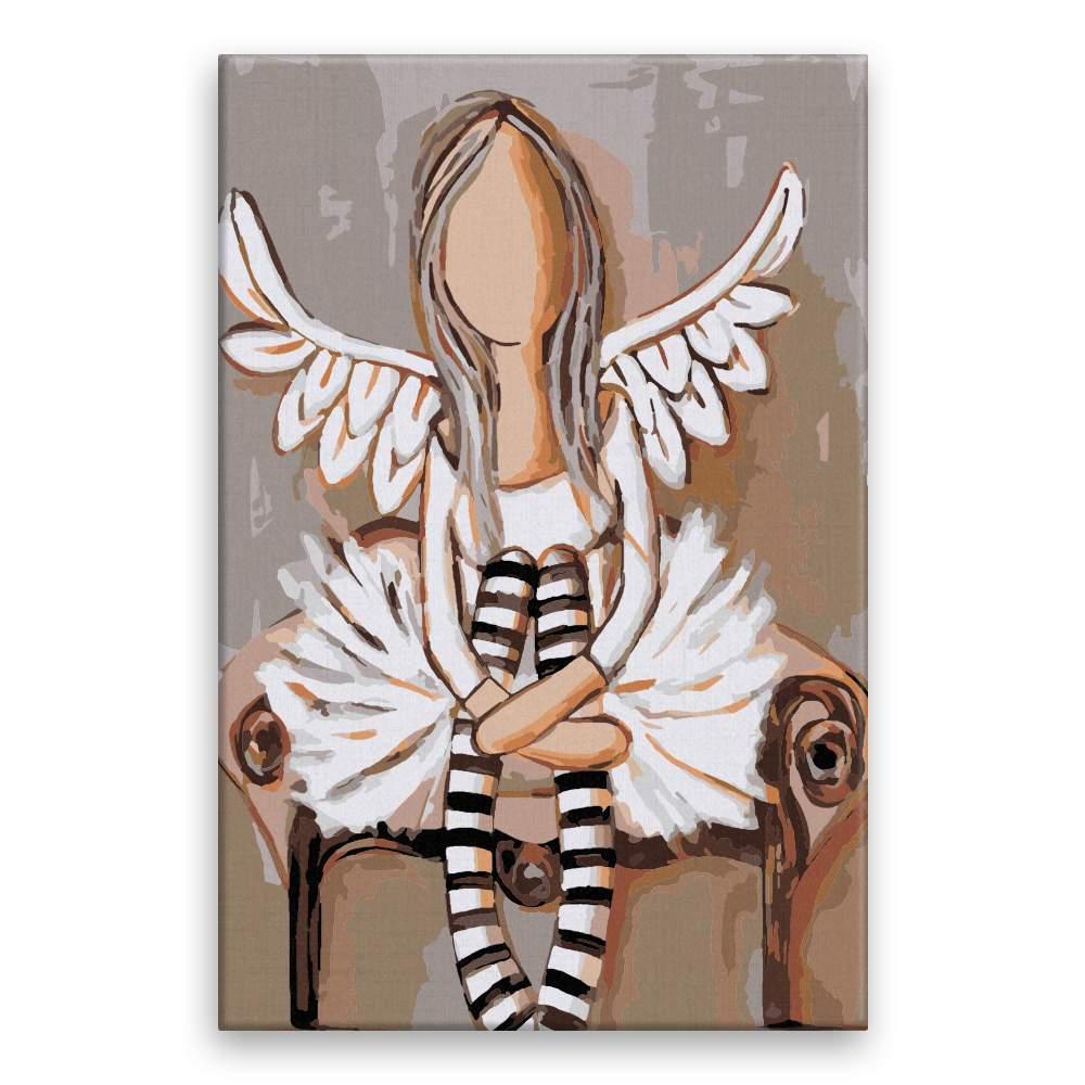 Malování podle čísel Anděl s pruhovanými podkolenky