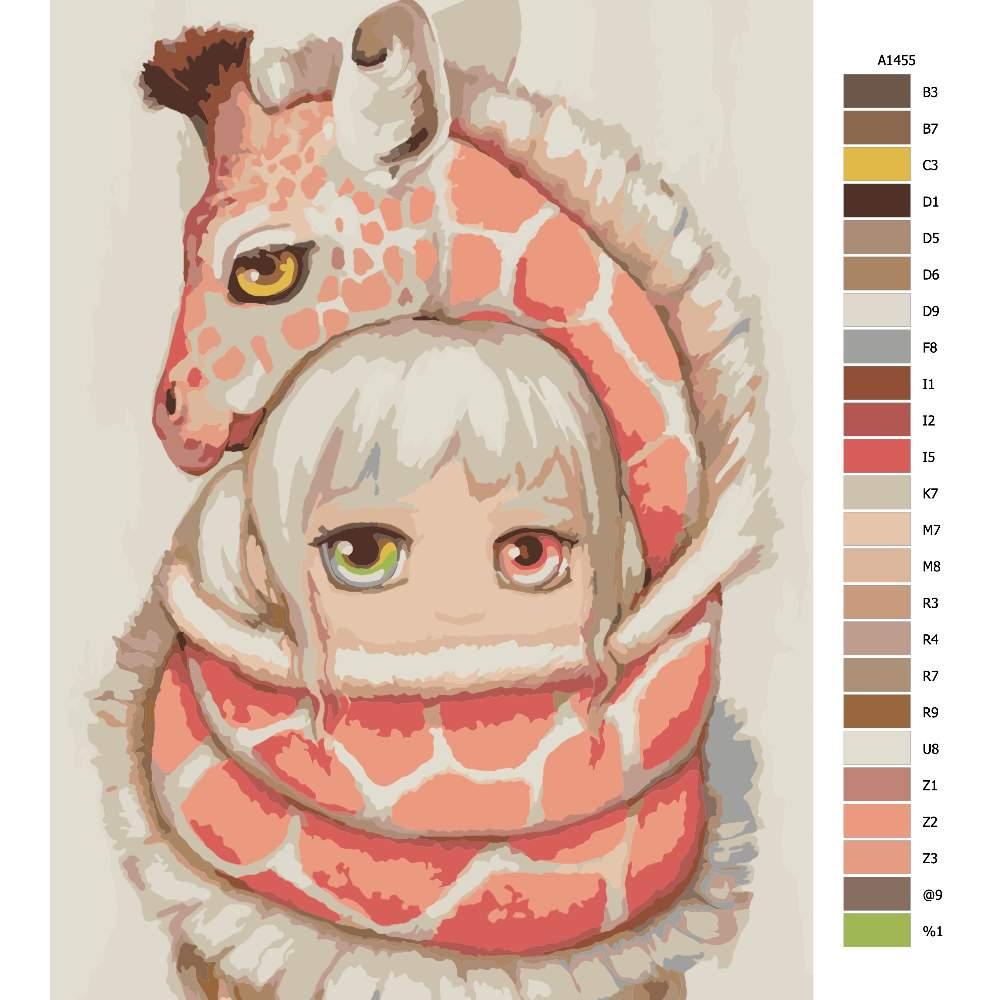 Návod pro malování podle čísel V objetí žirafy