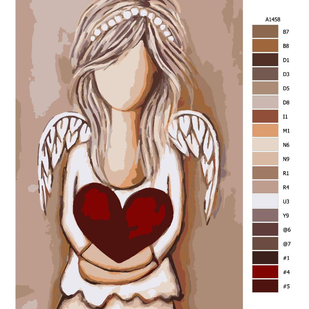 Návod pro malování podle čísel Anděl s velkým srdcem