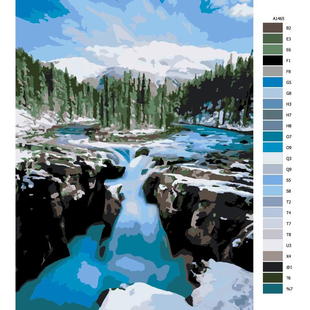Návod pro malování podle čísel Horská řeka