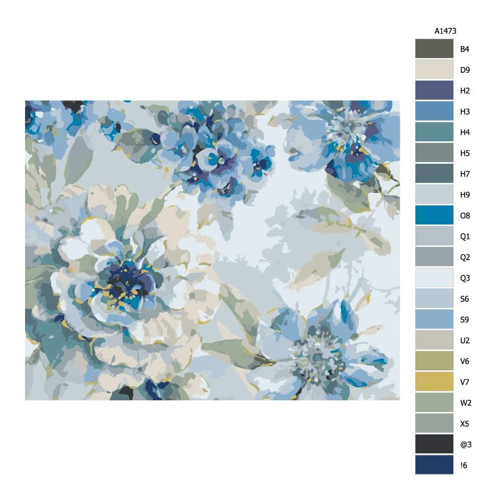 Návod pro malování podle čísel Květy v modrém