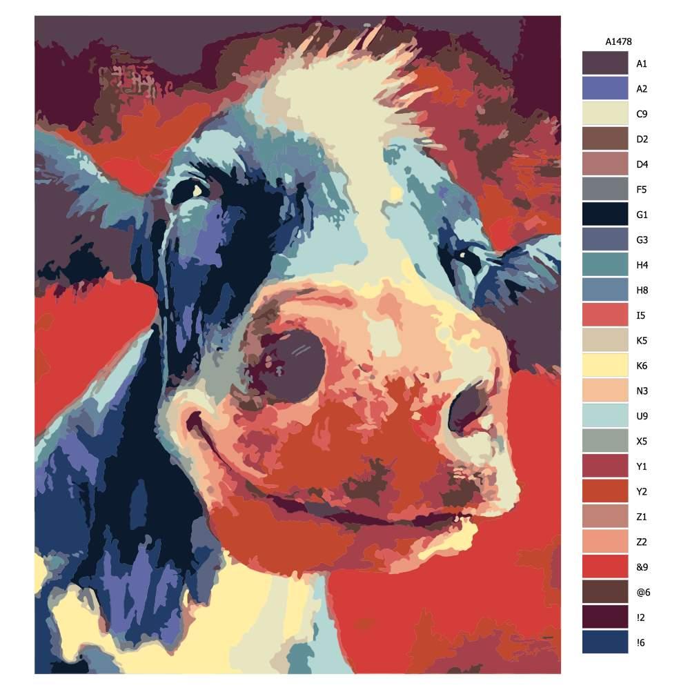 Návod pro malování podle čísel Sťastná kráva