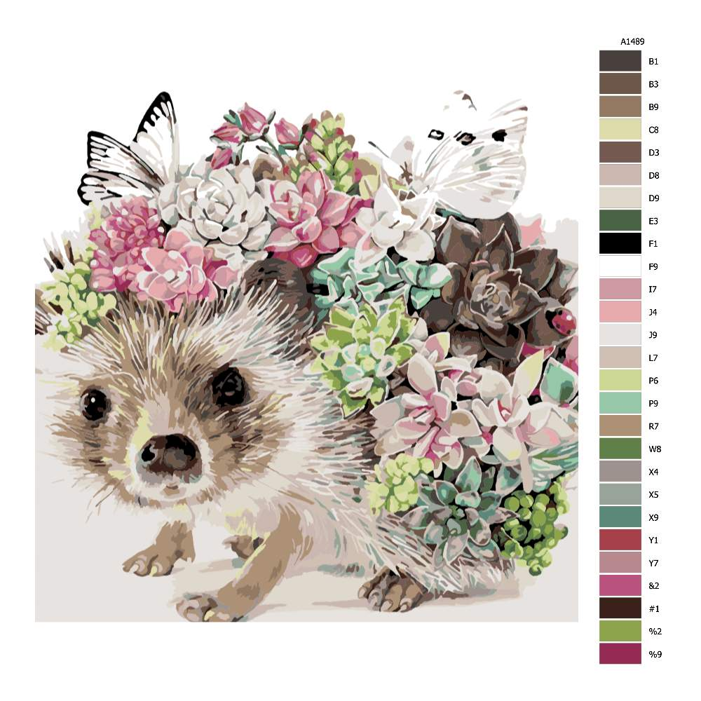 Malování podle čísel Ježek s květinami