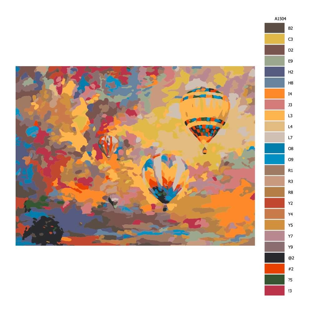 Návod pro malování podle čísel Horkovzdušné balony