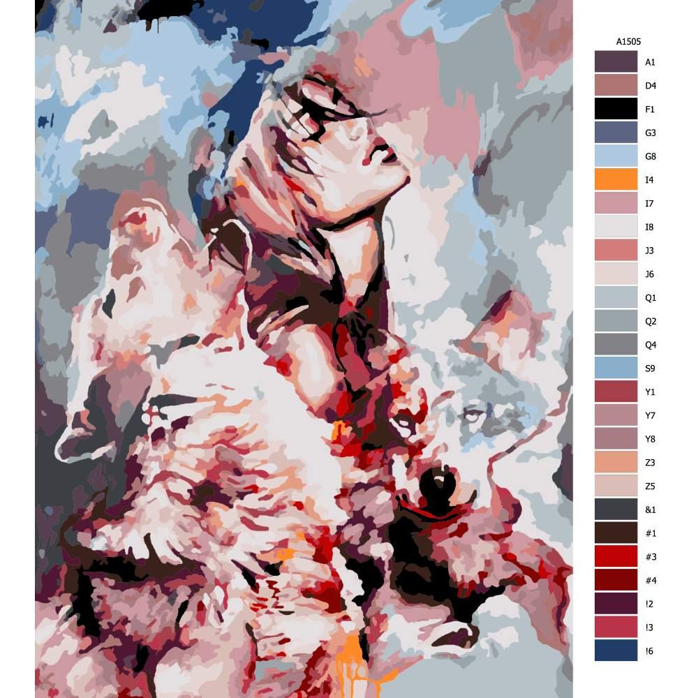 Návod pro malování podle čísel Mezi vlky