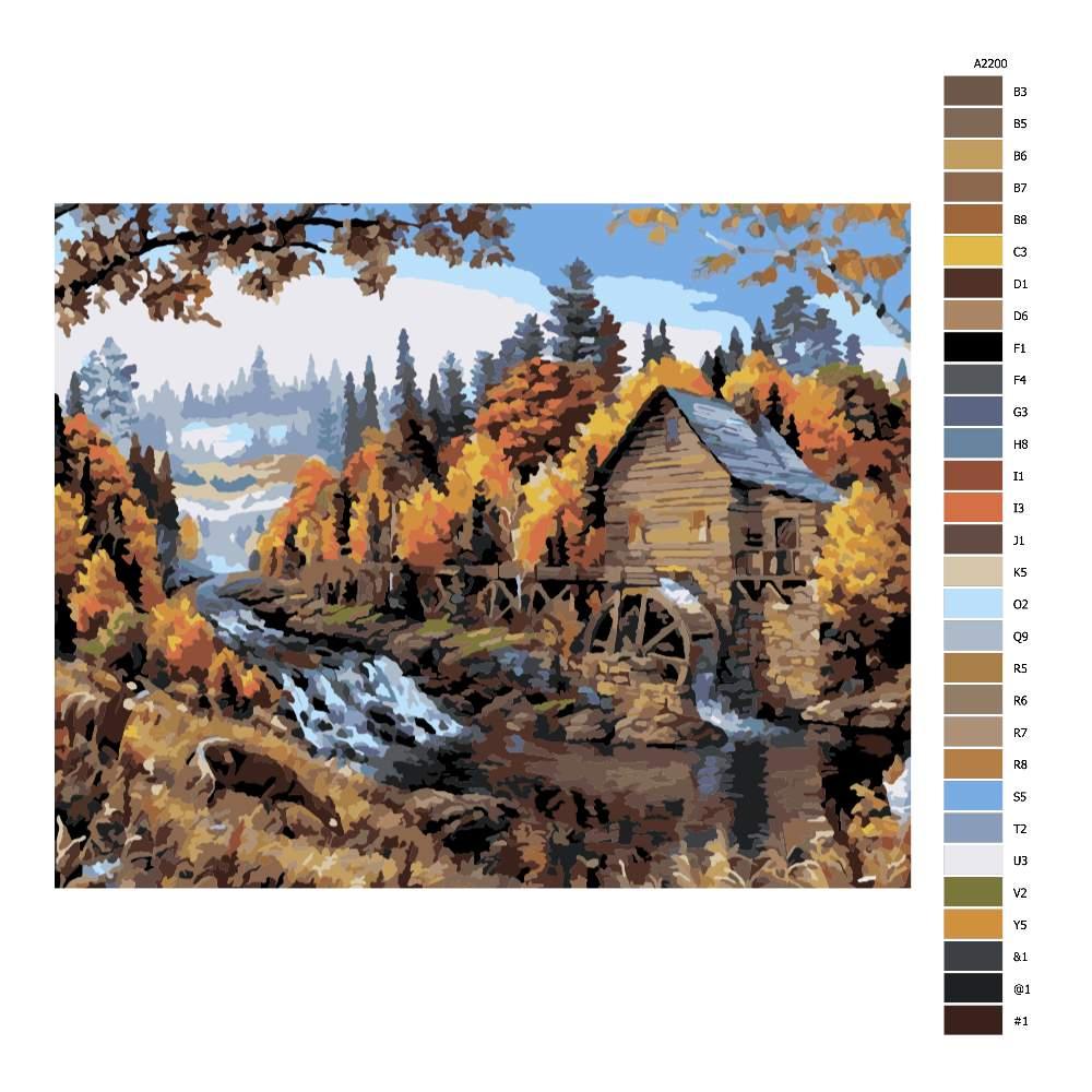 Návod pro malování podle čísel Mlýn v přírodě