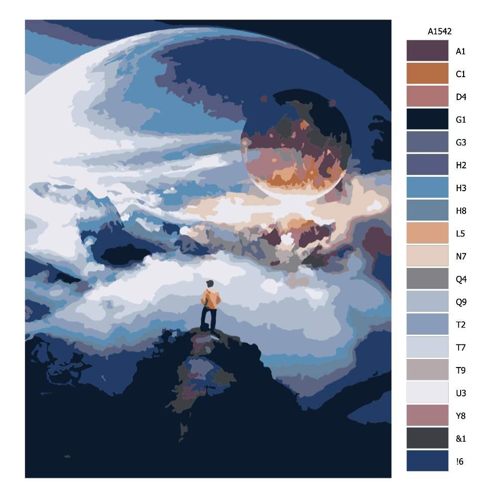 Návod pro malování podle čísel Svět na dlani