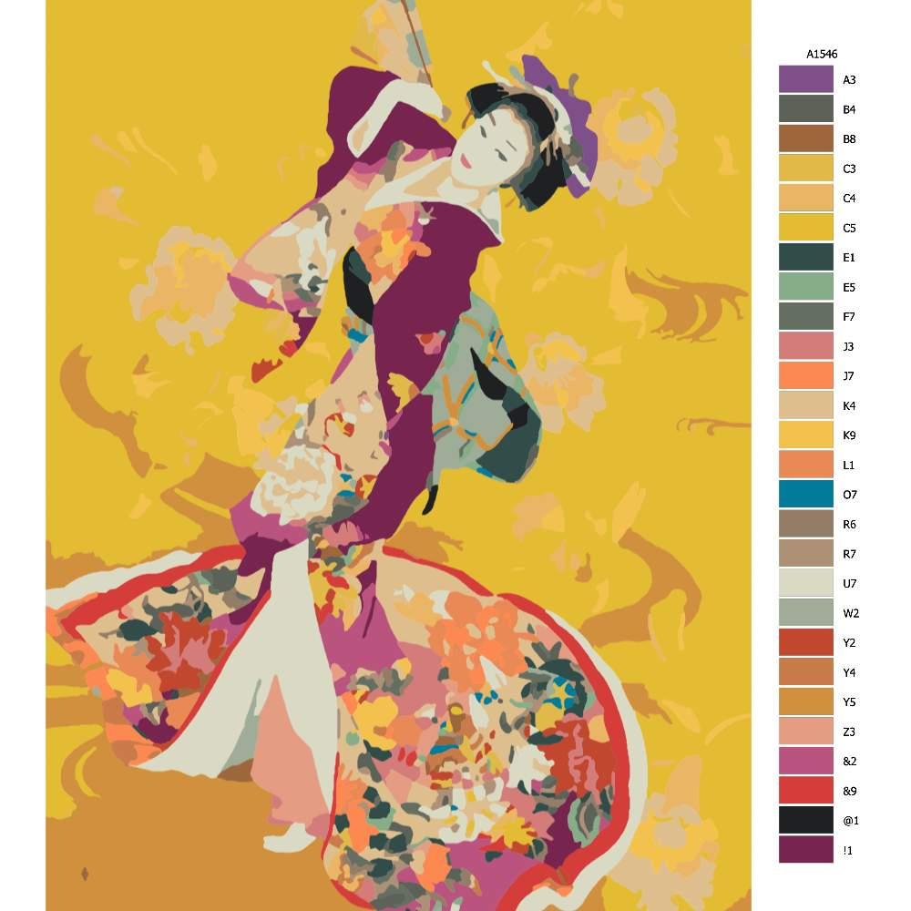 Malování podle čísel Japonská kráska