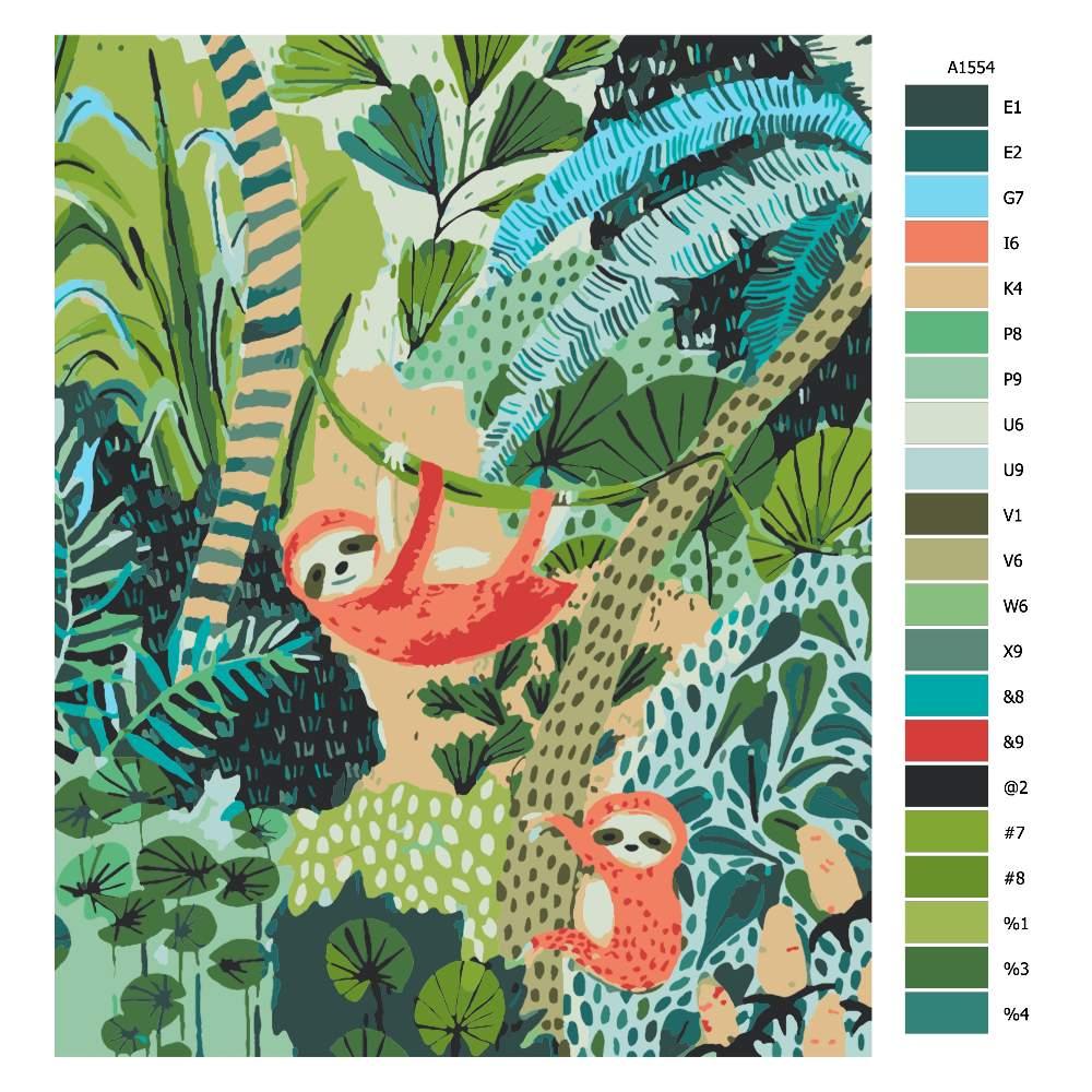 Malování podle čísel Lenochodi v džungli