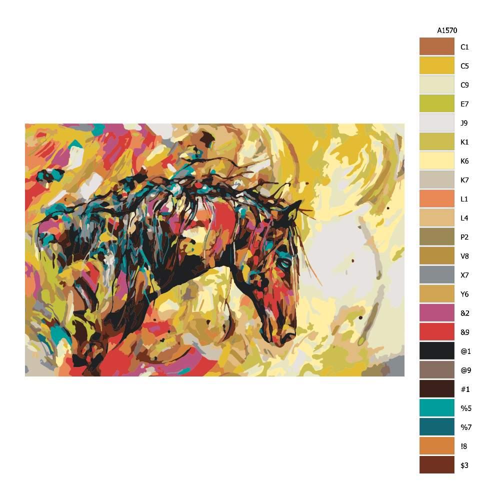 Malování podle čísel Pestrobarevný kůň