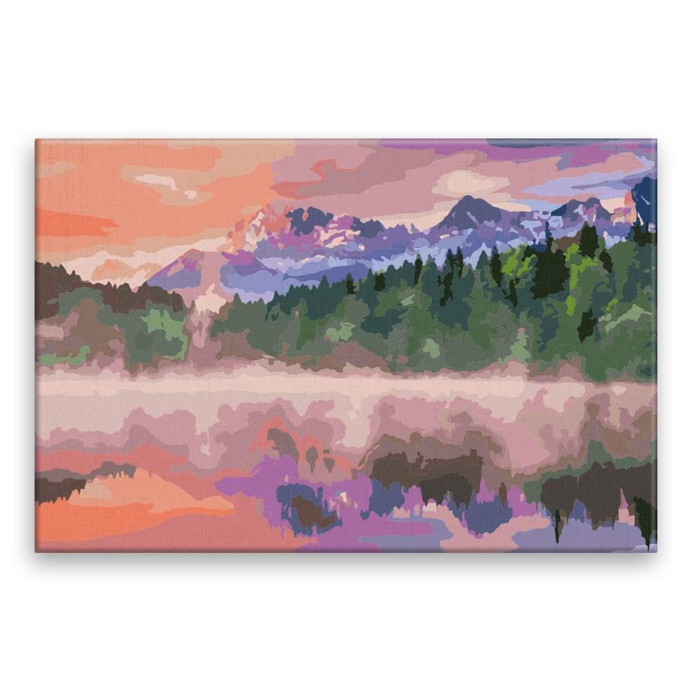 Malování podle čísel Mlha u jezera