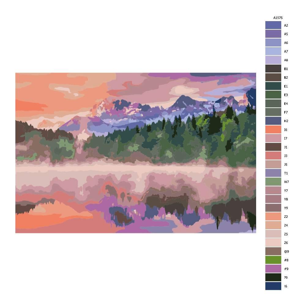 Návod pro malování podle čísel Mlha u jezera