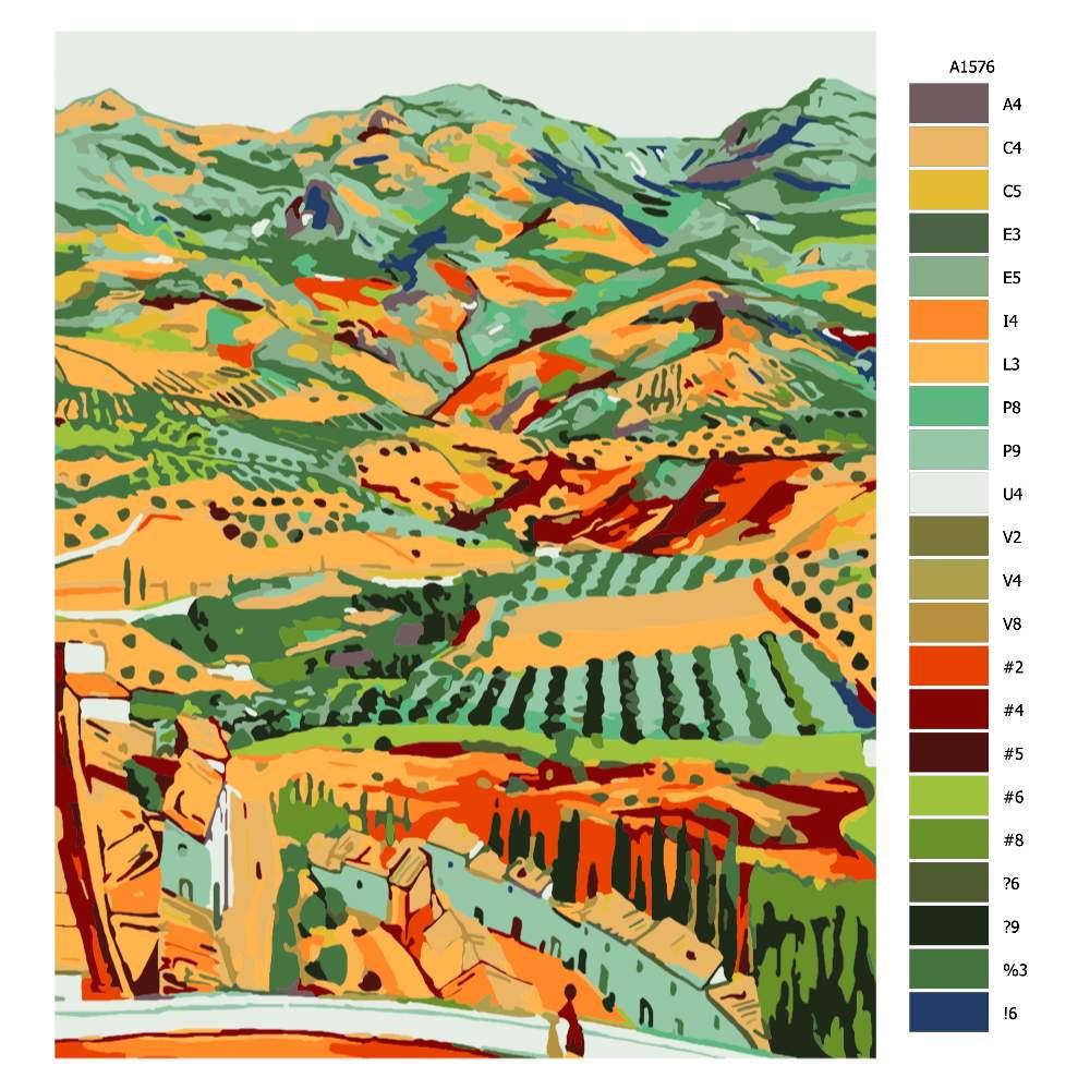 Návod pro malování podle čísel Španělská krajina