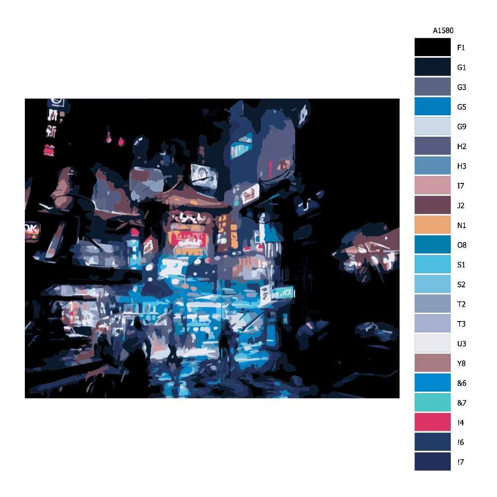 Návod pro malování podle čísel Noční město v Číně