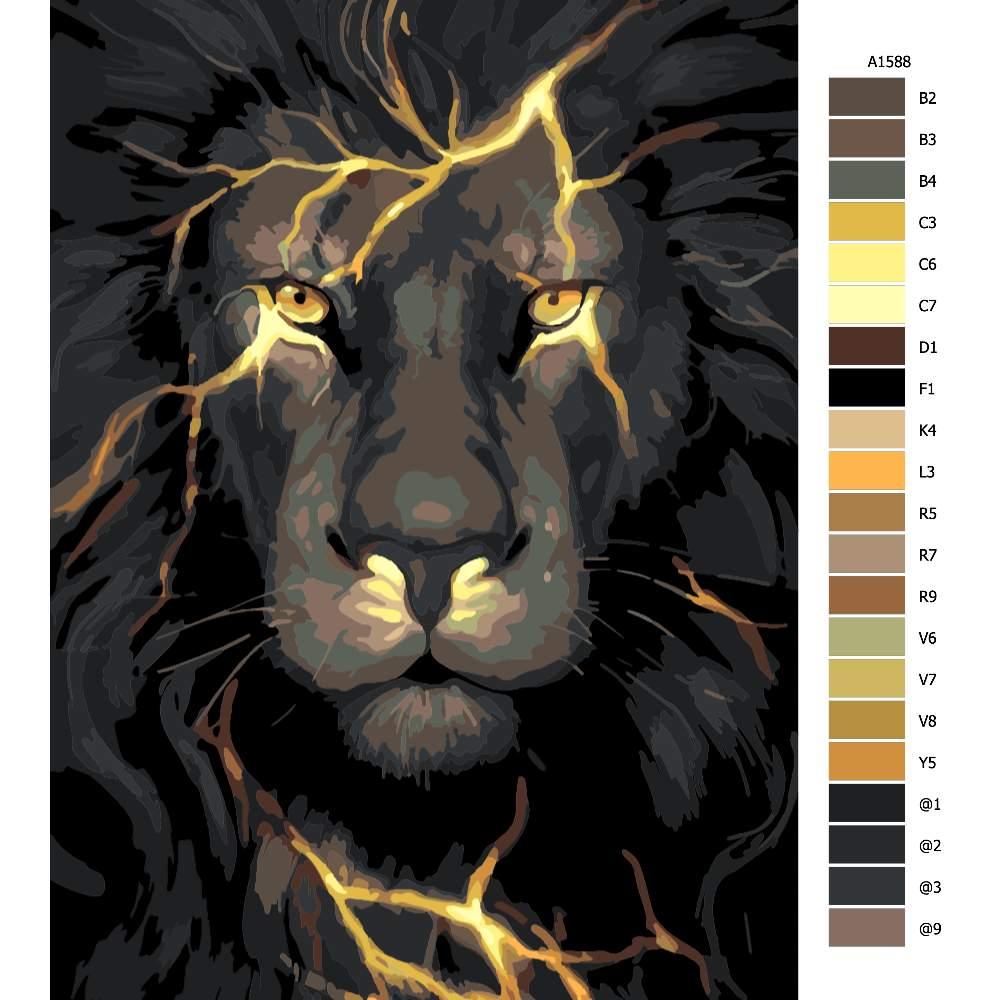 Návod pro malování podle čísel Lev s blesky