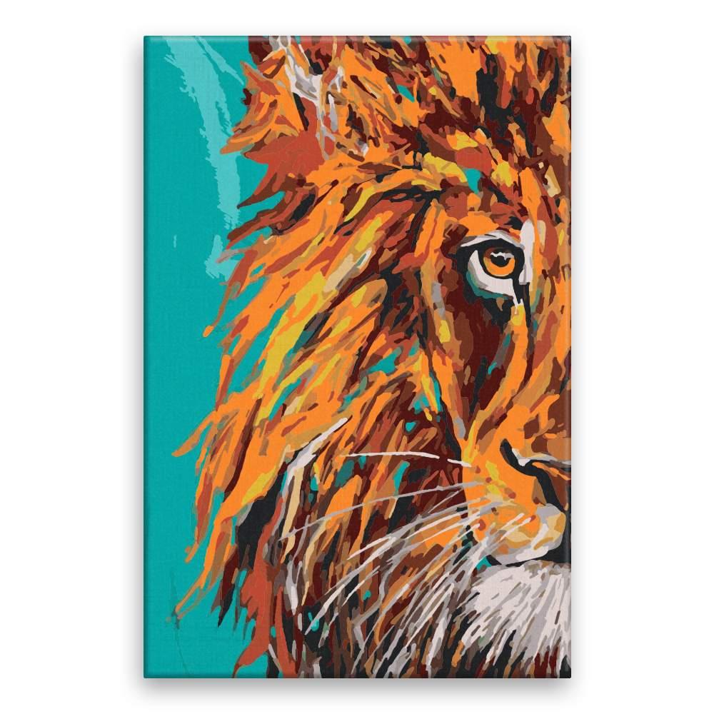 Malování podle čísel Lev s modrým pozadím