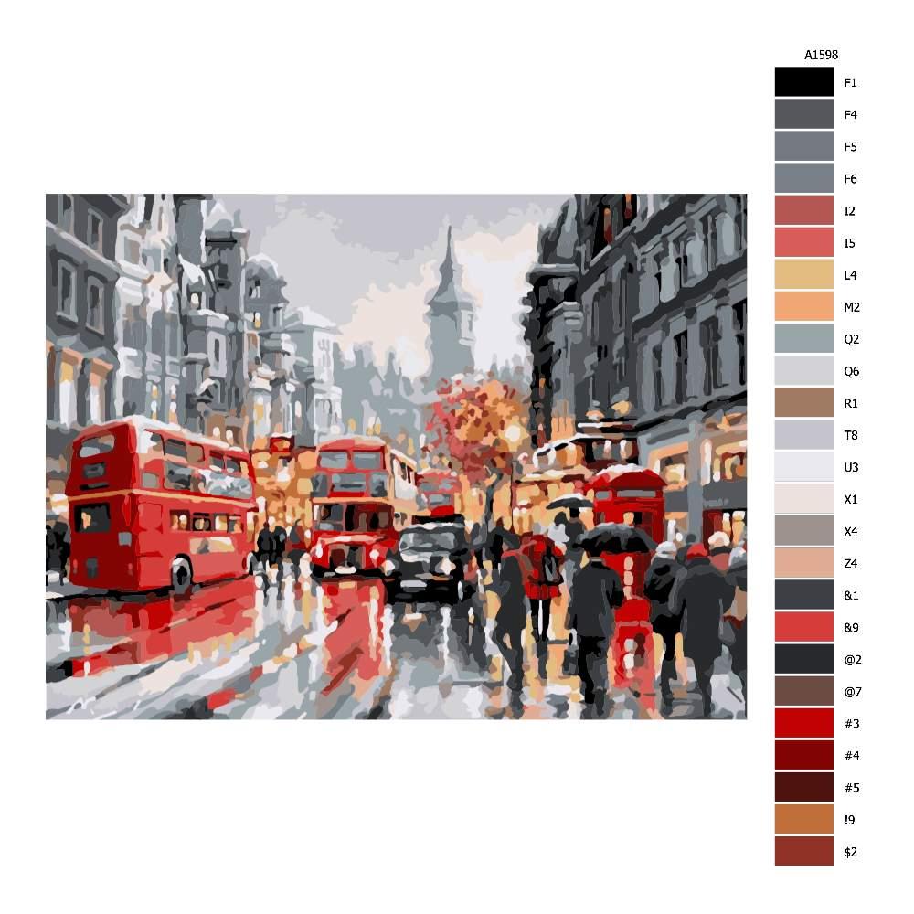 Malování podle čísel Londýn v dešti