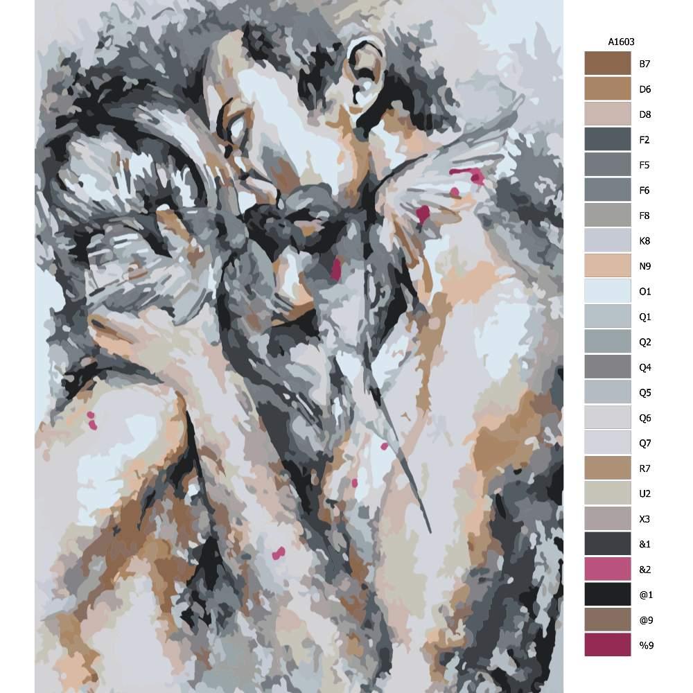 Návod pro malování podle čísel Polibek lásky