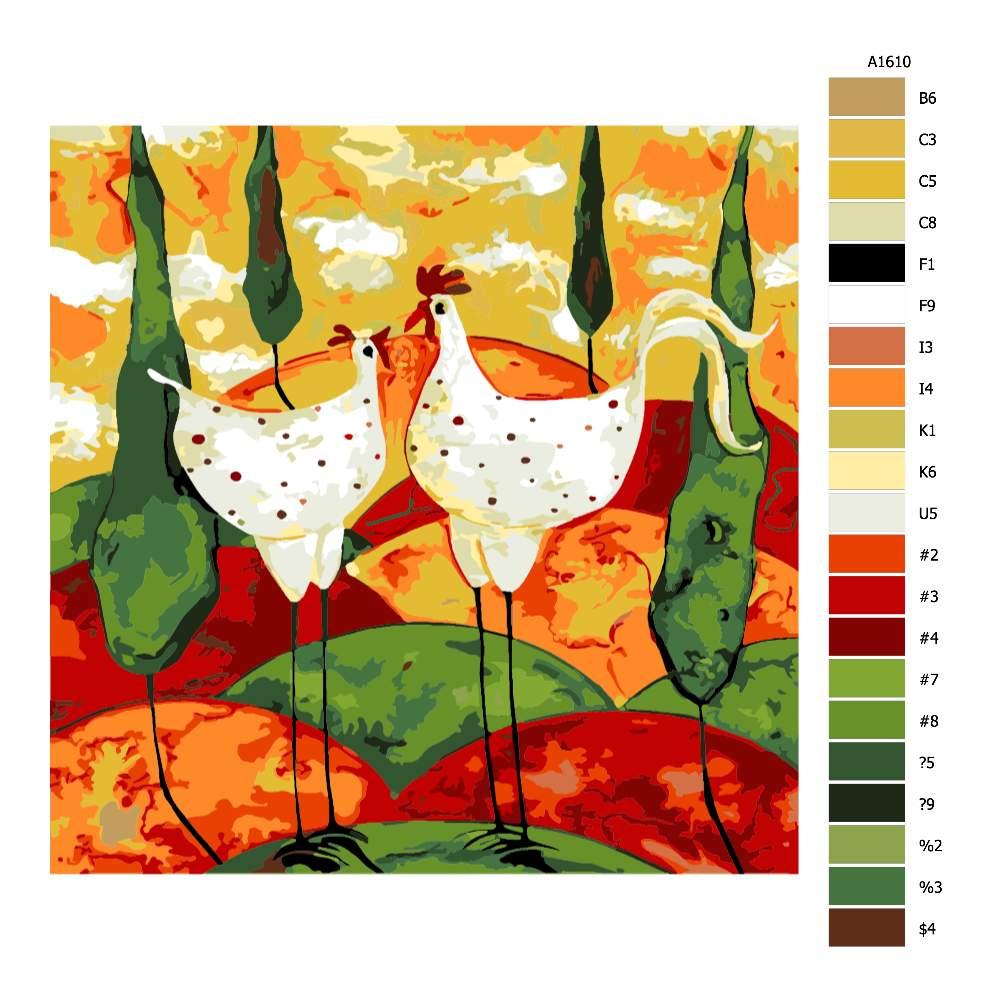 Malování podle čísel Slepička s kohoutkem