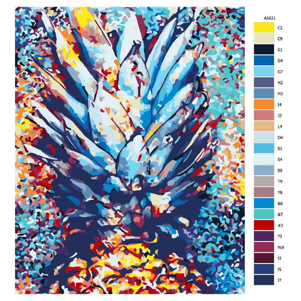 Návod pro malování podle čísel Ananas
