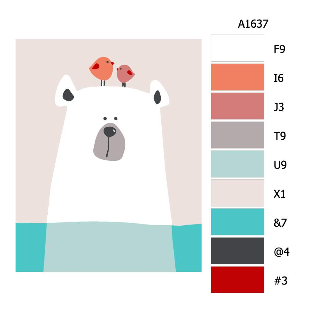 Návod pro malování podle čísel Lední medvíek a ptáčci