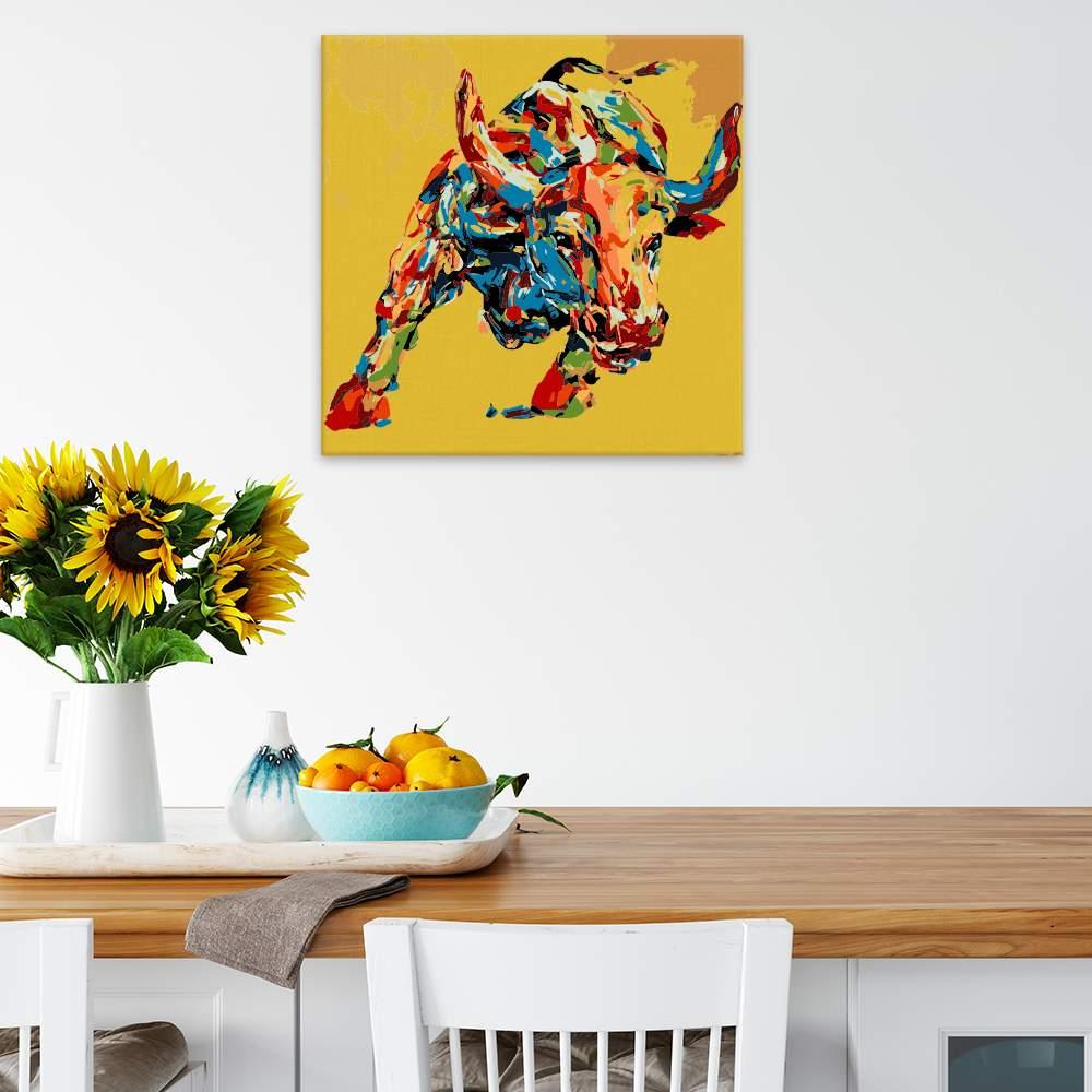 Malování podle čísel Buvol se žlutým podkladem v barvách