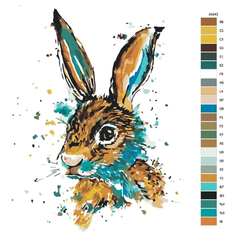 Návod pro malování podle čísel Zajíc modro hnědý