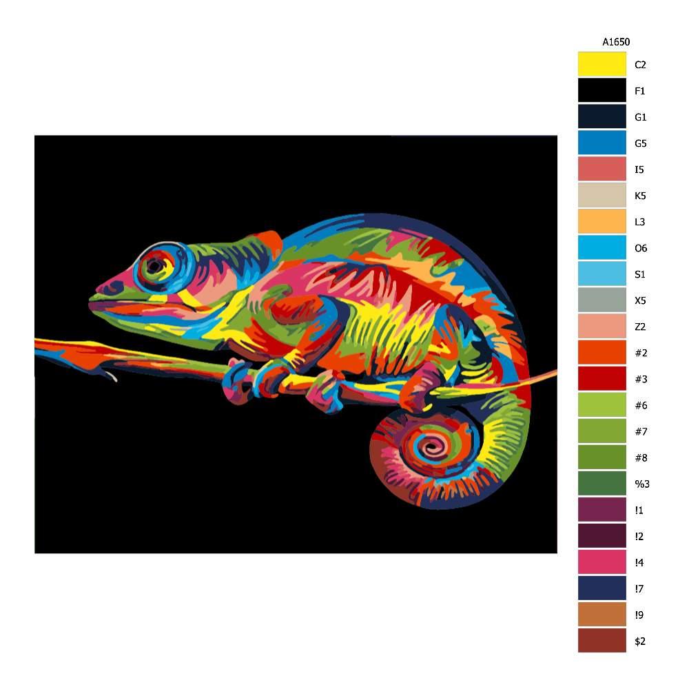 Návod pro malování podle čísel Chameleon v barvách