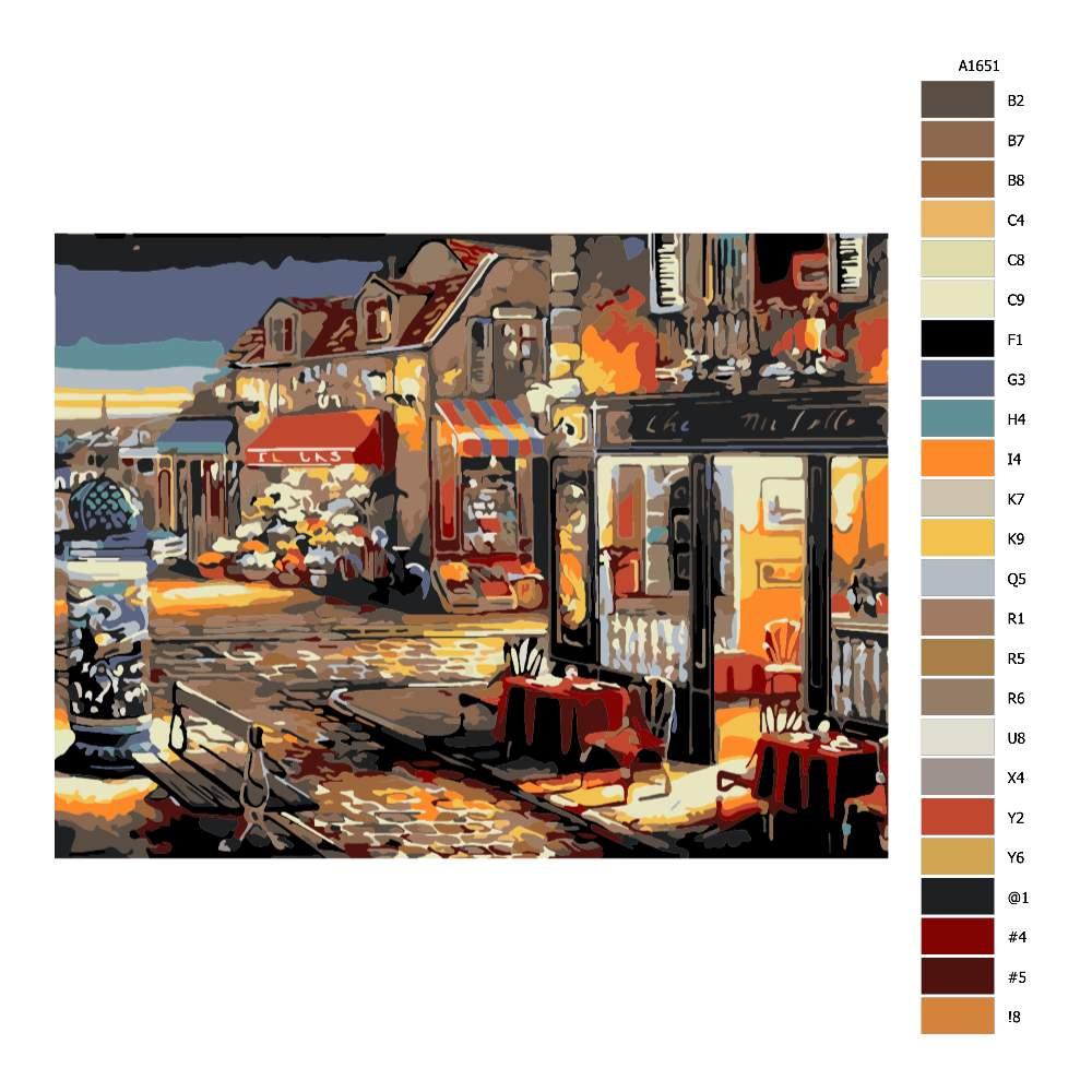 Návod pro malování podle čísel Večerní restaurace