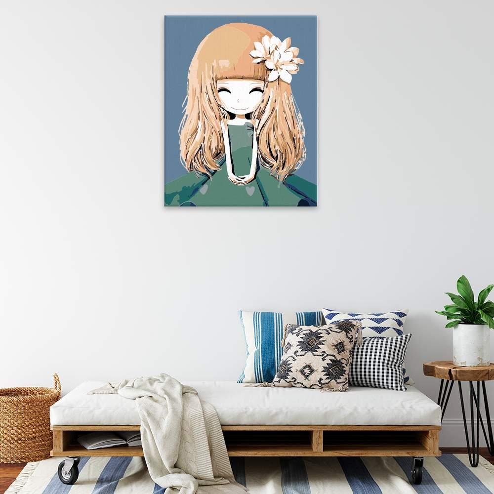 Malování podle čísel Malá princezna s kytkou ve vlasech