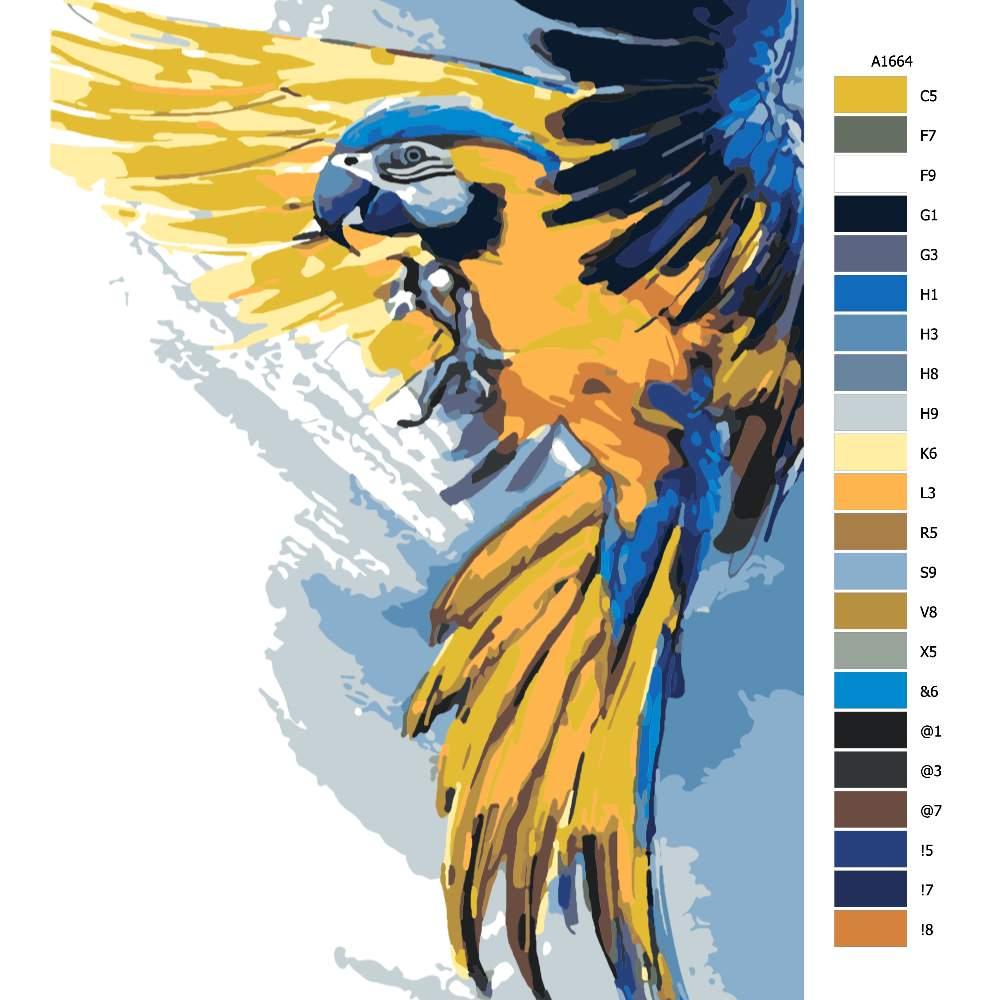 Návod pro malování podle čísel Papoušek v rozletu