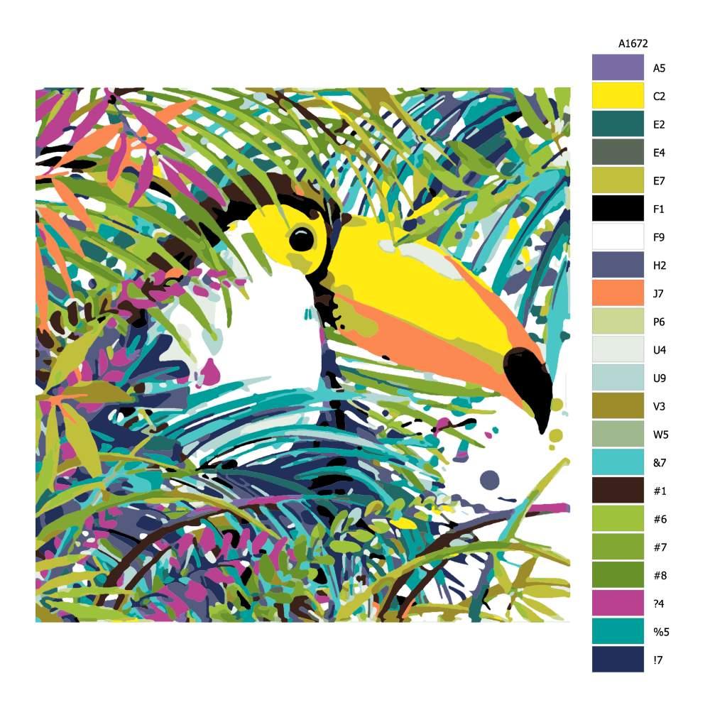 Malování podle čísel Tukan v korunách stromů