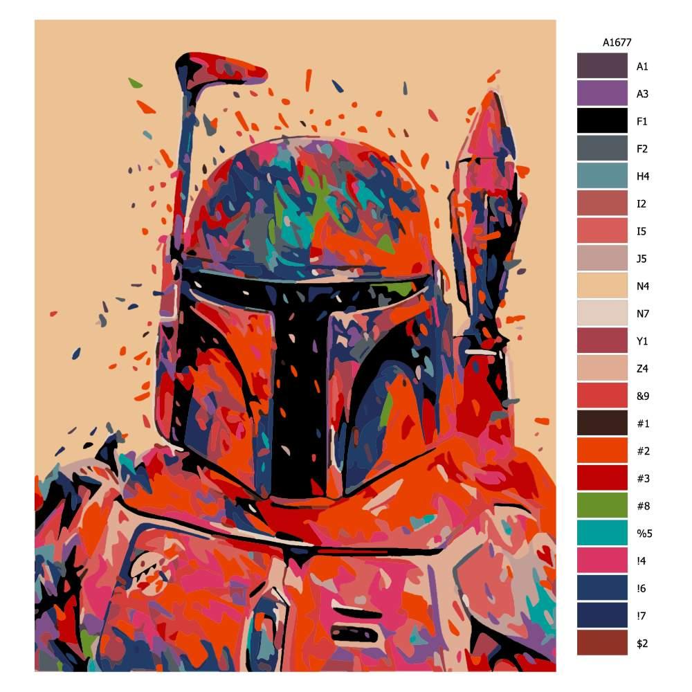 Malování podle čísel Mandalorián v barvách