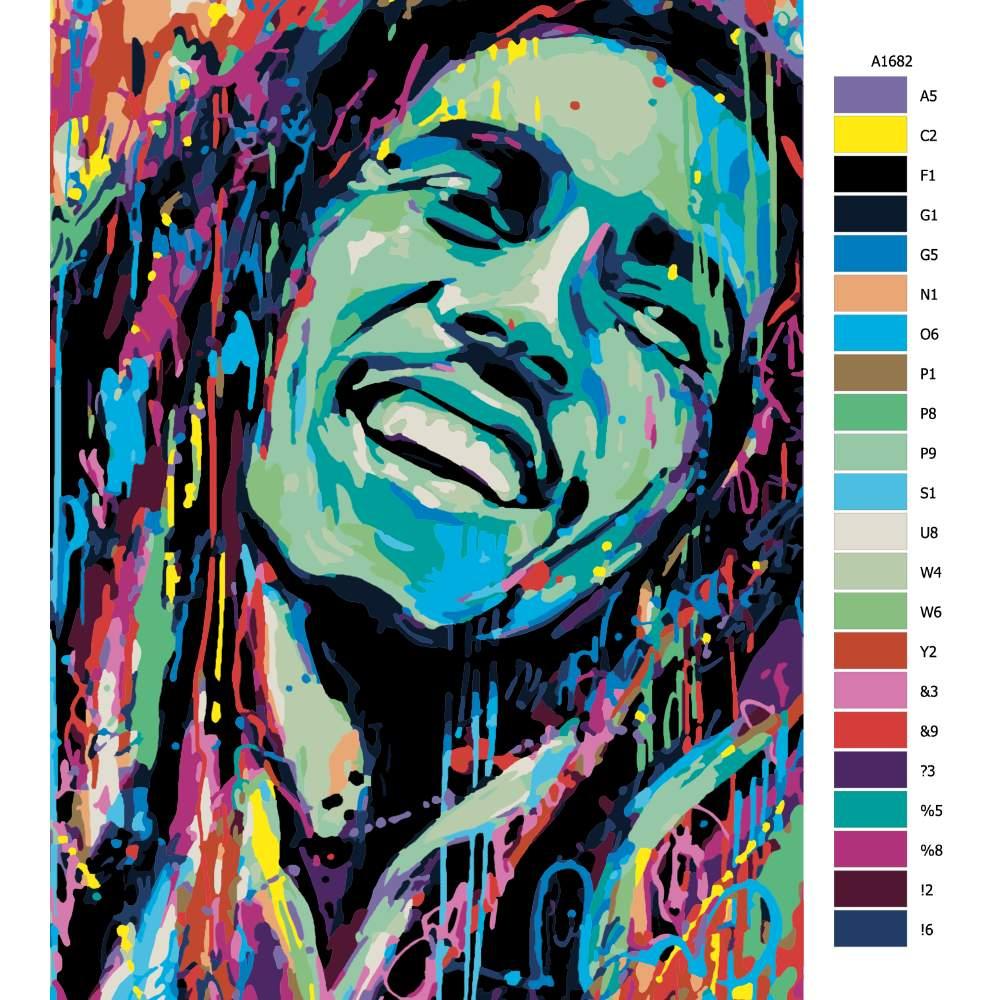 Návod pro malování podle čísel Bob Marley v barvách