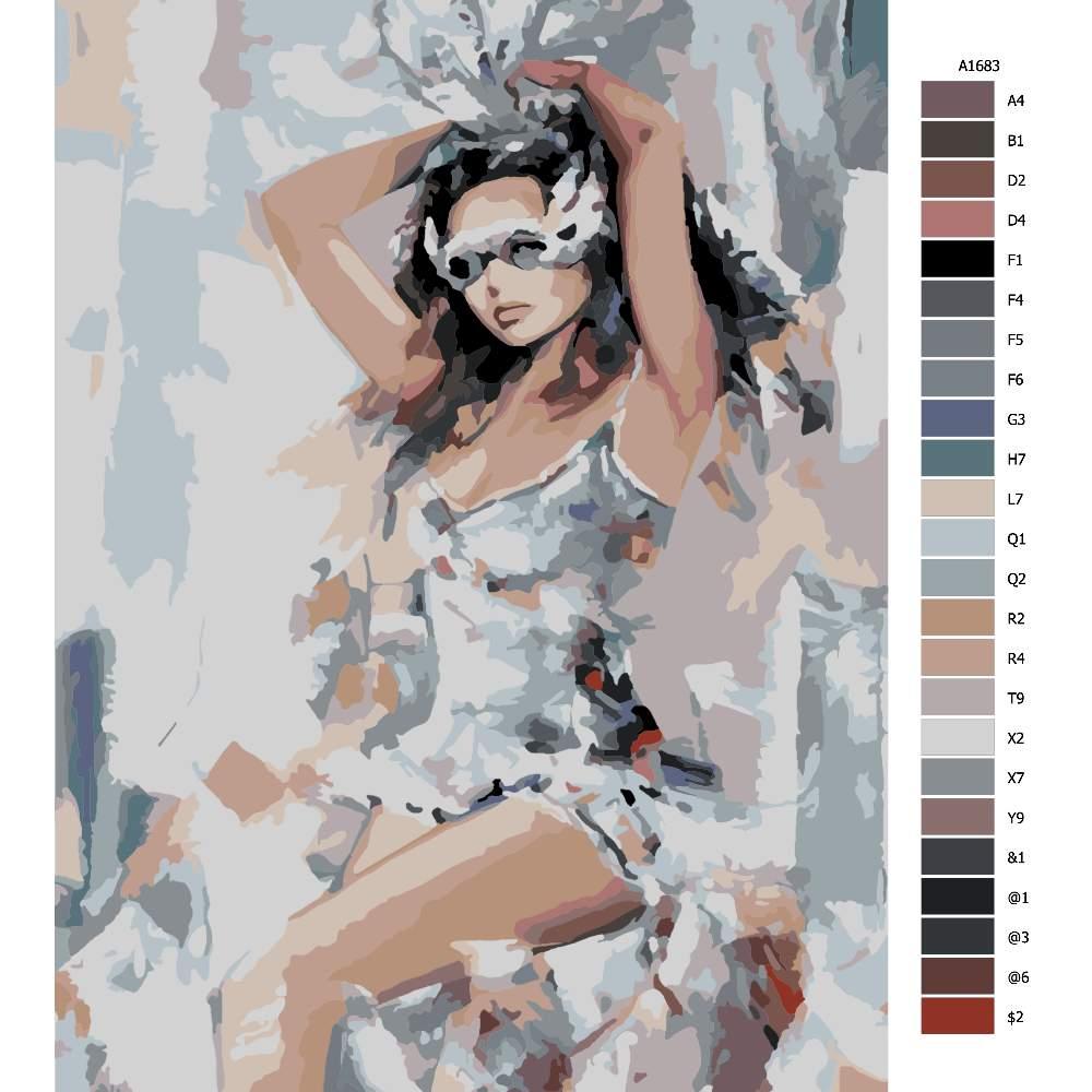 Návod pro malování podle čísel Dívka v masce