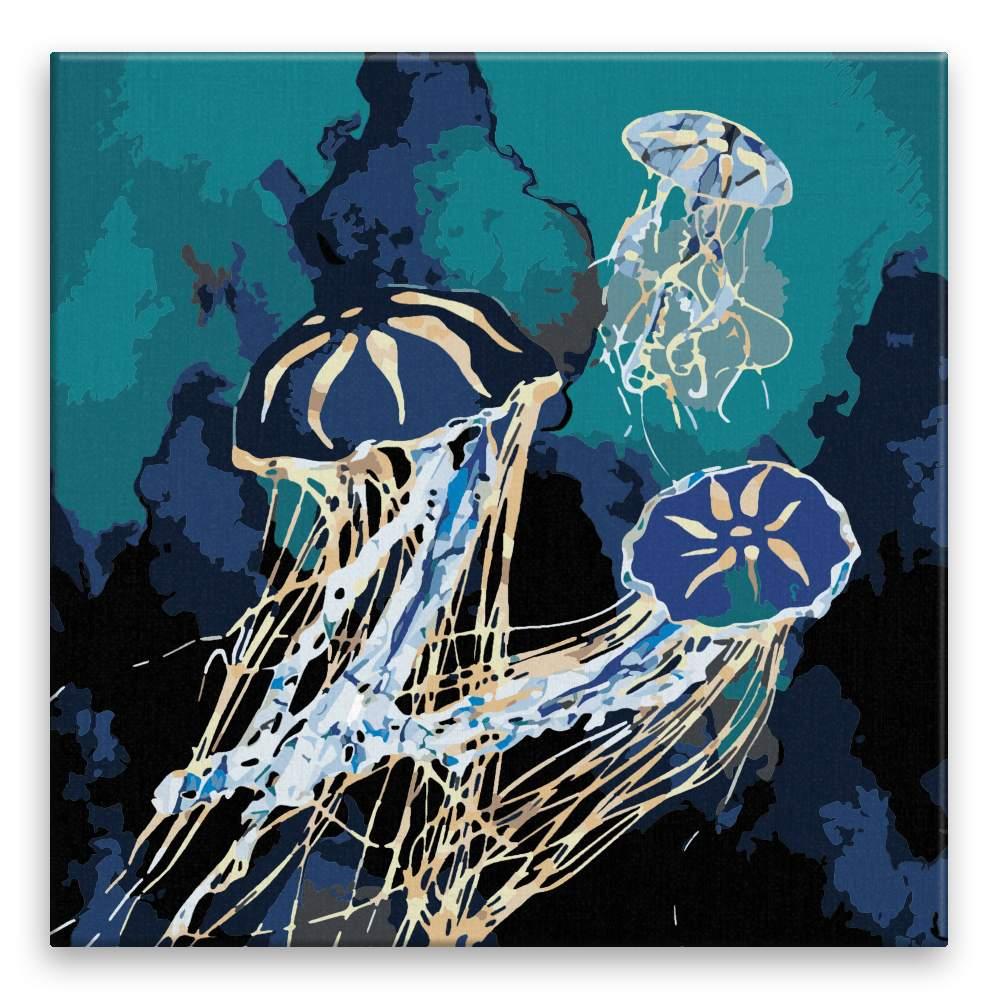 Malování podle čísel Zlatě zářící medúzy