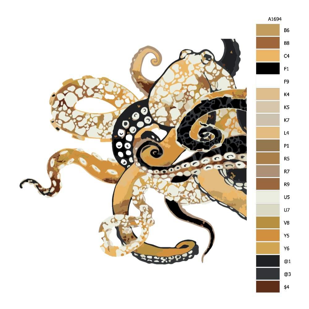 Malování podle čísel Chobotnice