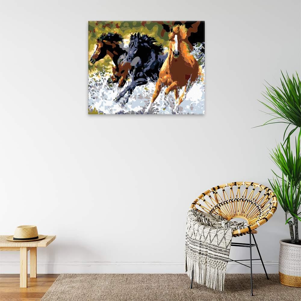Malování podle čísel Koně probíhající vodou