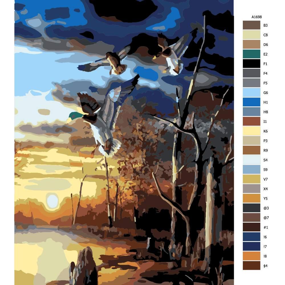 Návod pro malování podle čísel Kachny nad rybníkem