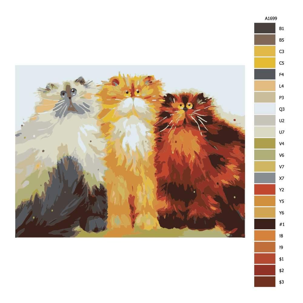 Malování podle čísel Tři chlupačci