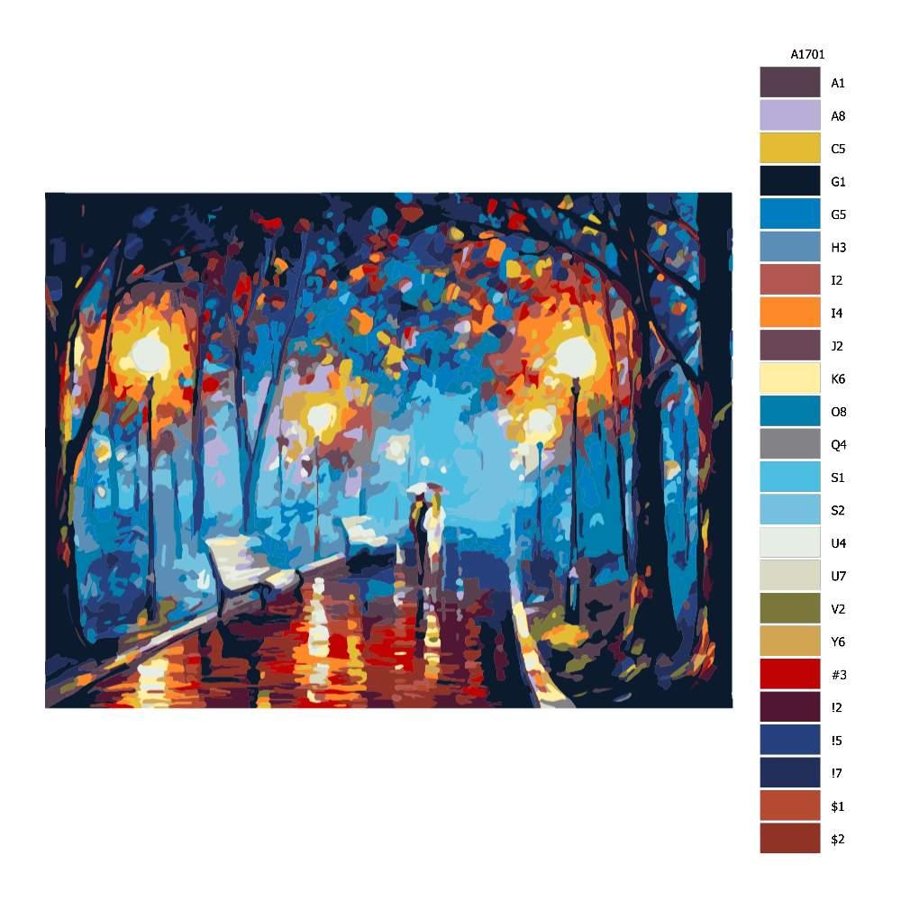 Malování podle čísel Procházka osvětlenou alejí