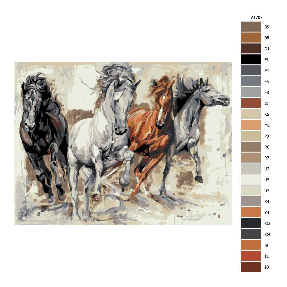 Návod pro malování podle čísel Čtyři koně