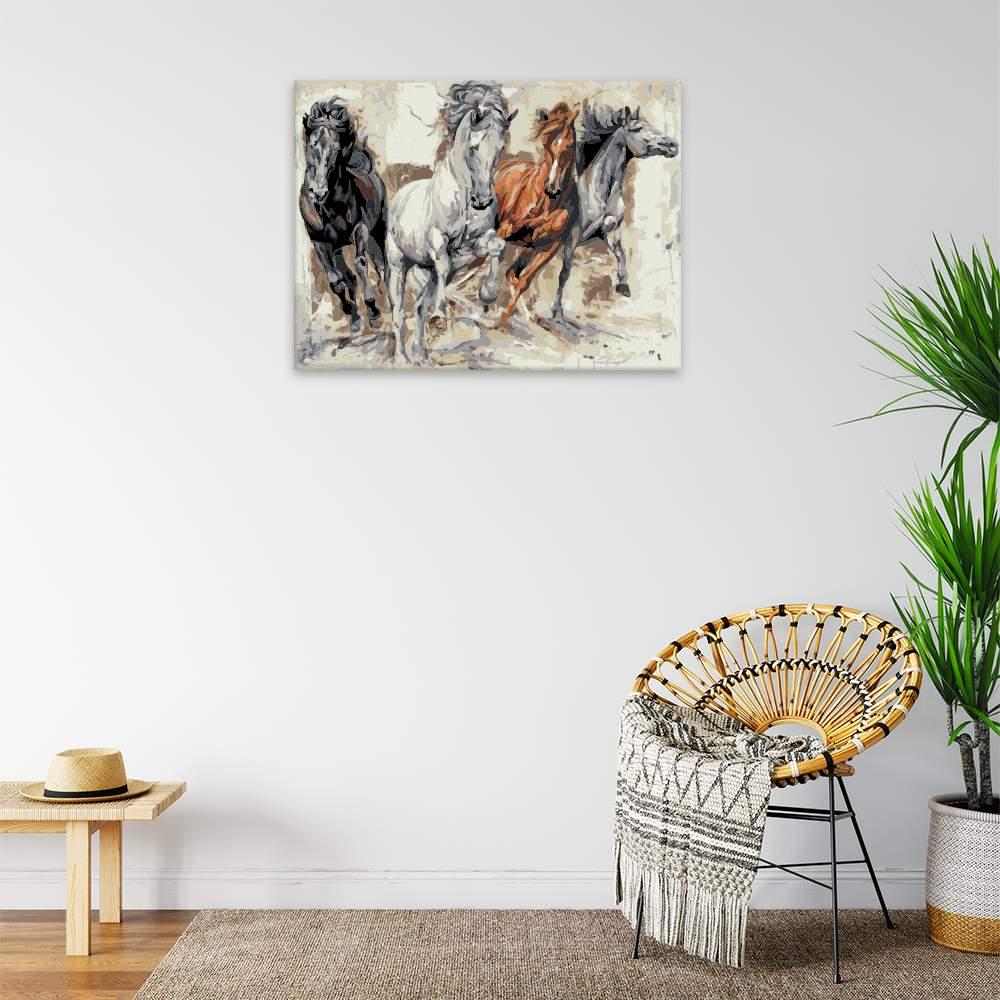 Malování podle čísel Čtyři koně