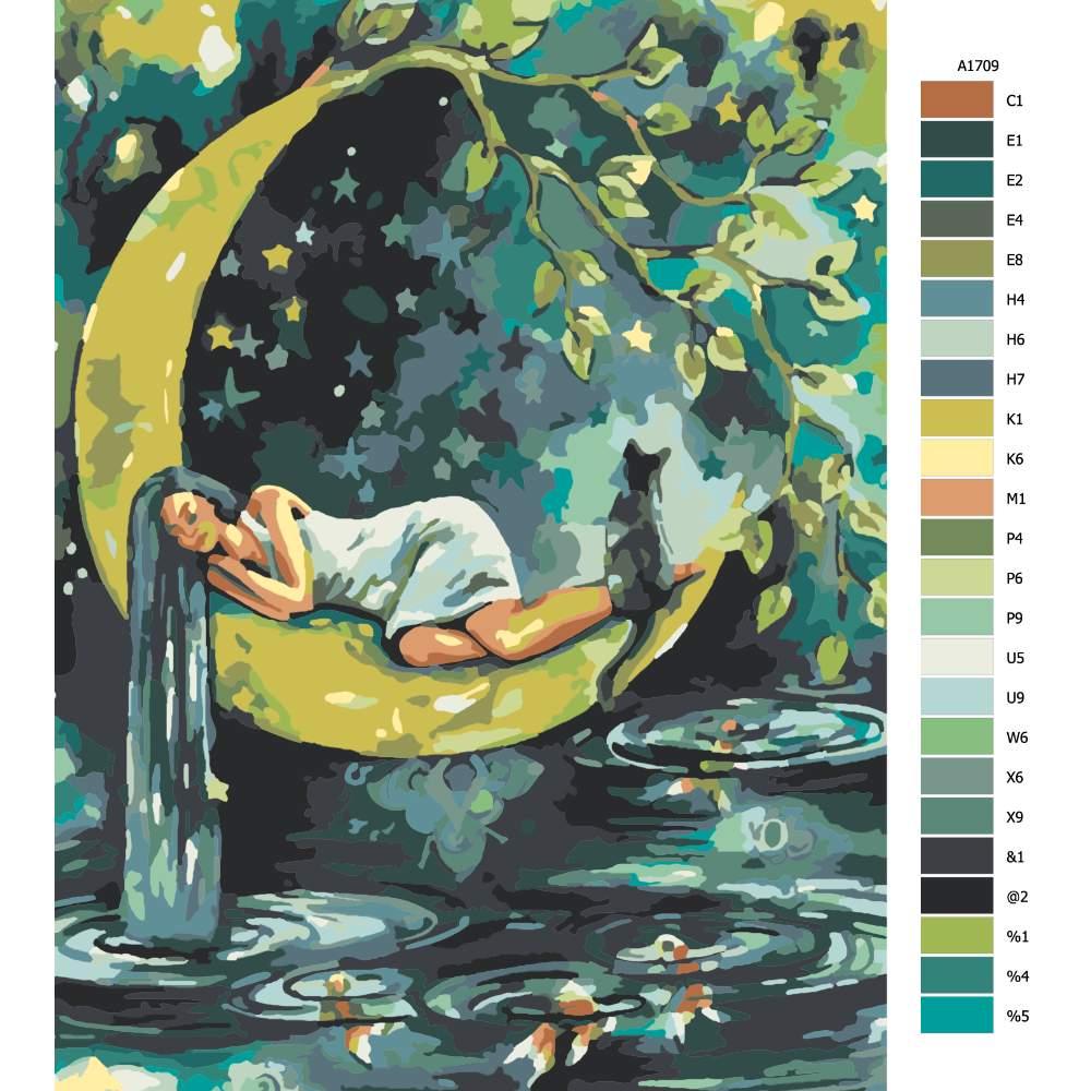 Návod pro malování podle čísel Spící na měsíci