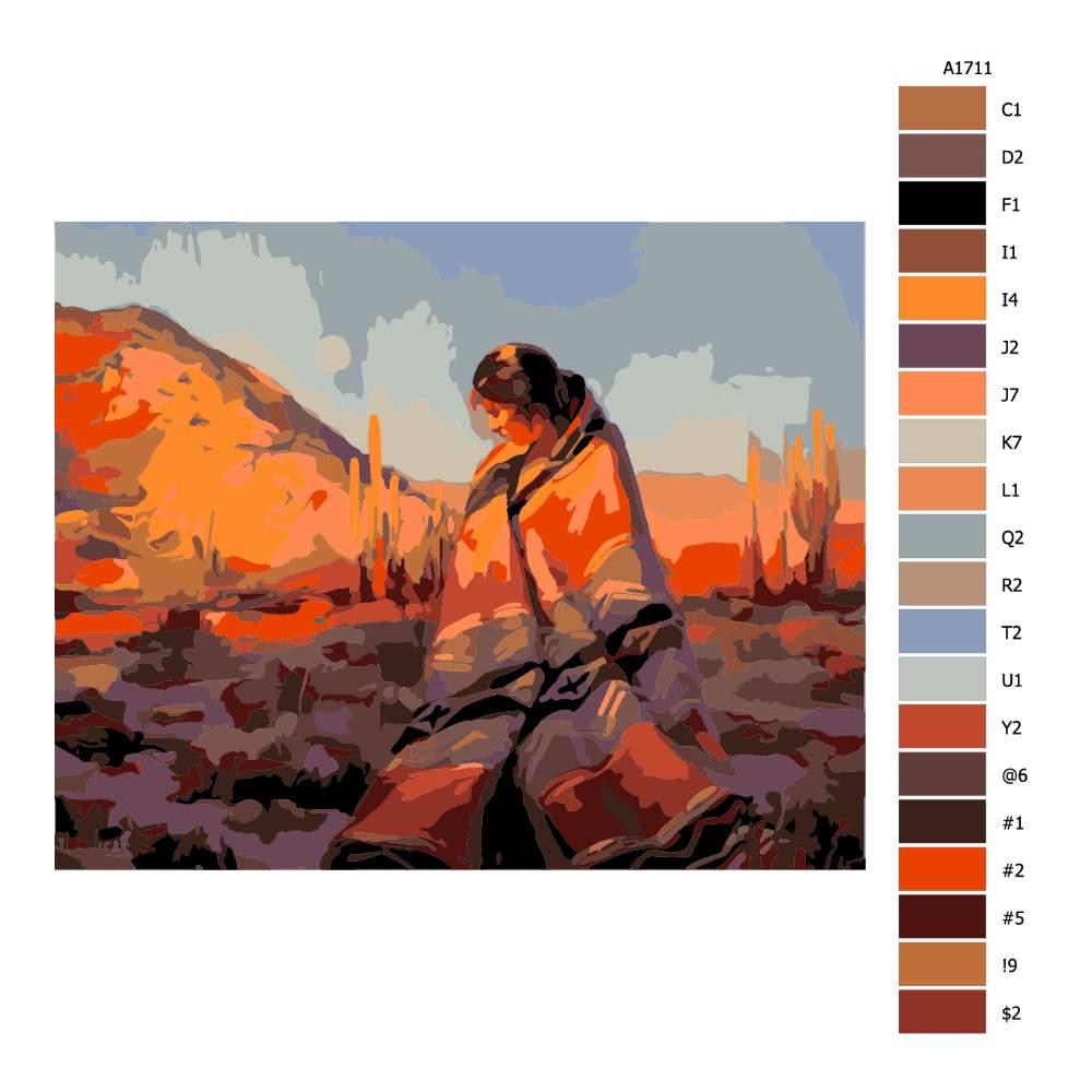Návod pro malování podle čísel Za úsvitu v Mexiku