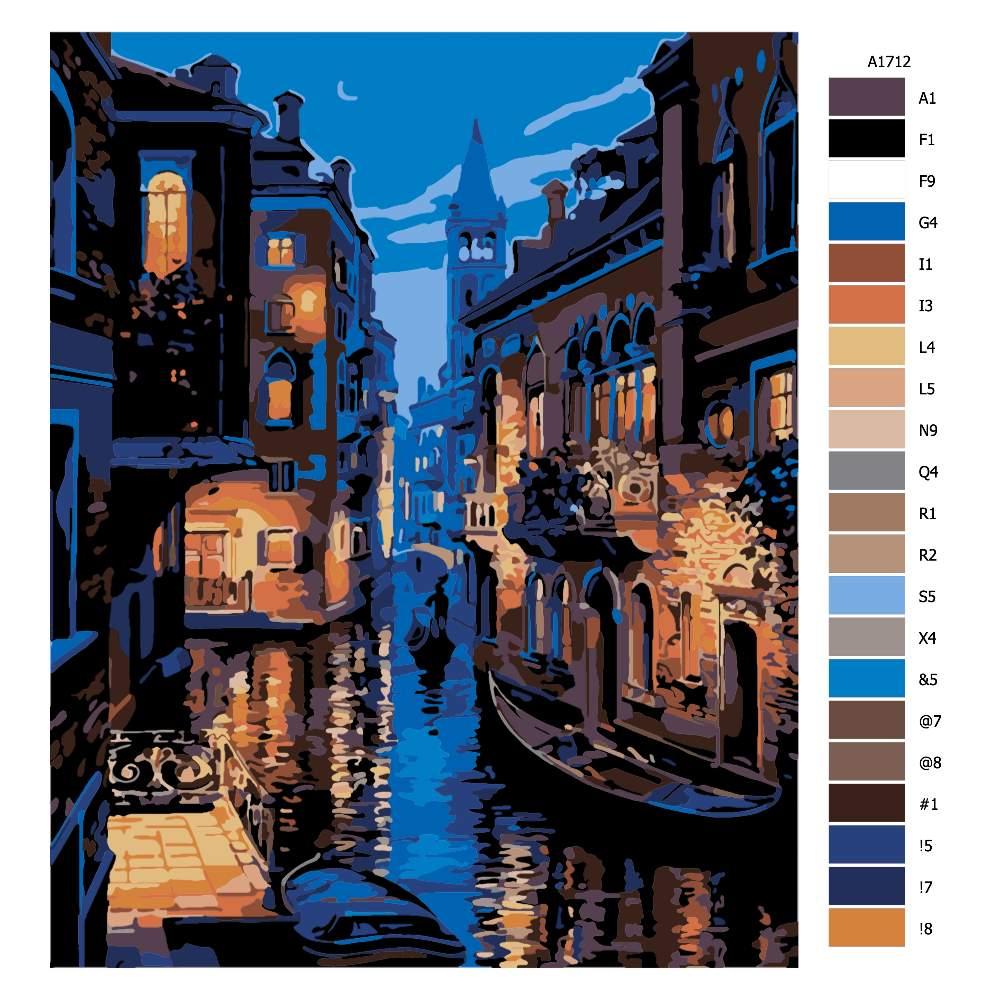 Návod pro malování podle čísel Noční Benátky